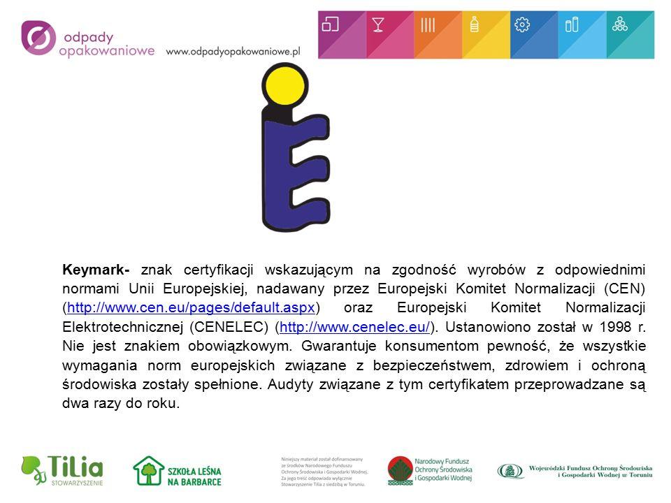 Keymark- znak certyfikacji wskazującym na zgodność wyrobów z odpowiednimi normami Unii Europejskiej, nadawany przez Europejski Komitet Normalizacji (CEN) (http://www.cen.eu/pages/default.aspx) oraz Europejski Komitet Normalizacji Elektrotechnicznej (CENELEC) (http://www.cenelec.eu/).