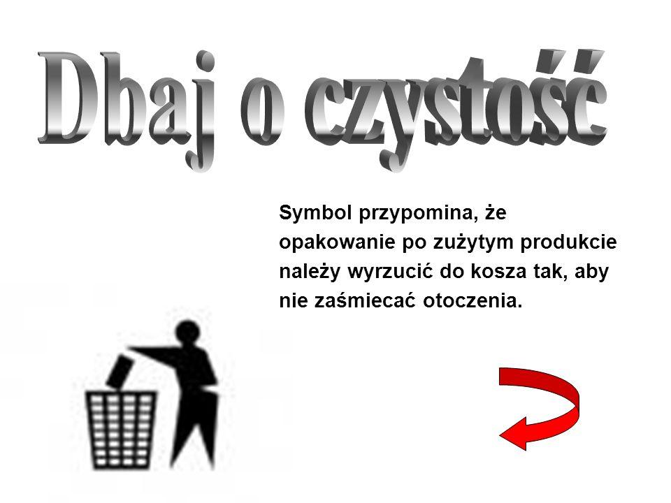 Symbol przypomina, że opakowanie po zużytym produkcie należy wyrzucić do kosza tak, aby nie zaśmiecać otoczenia.