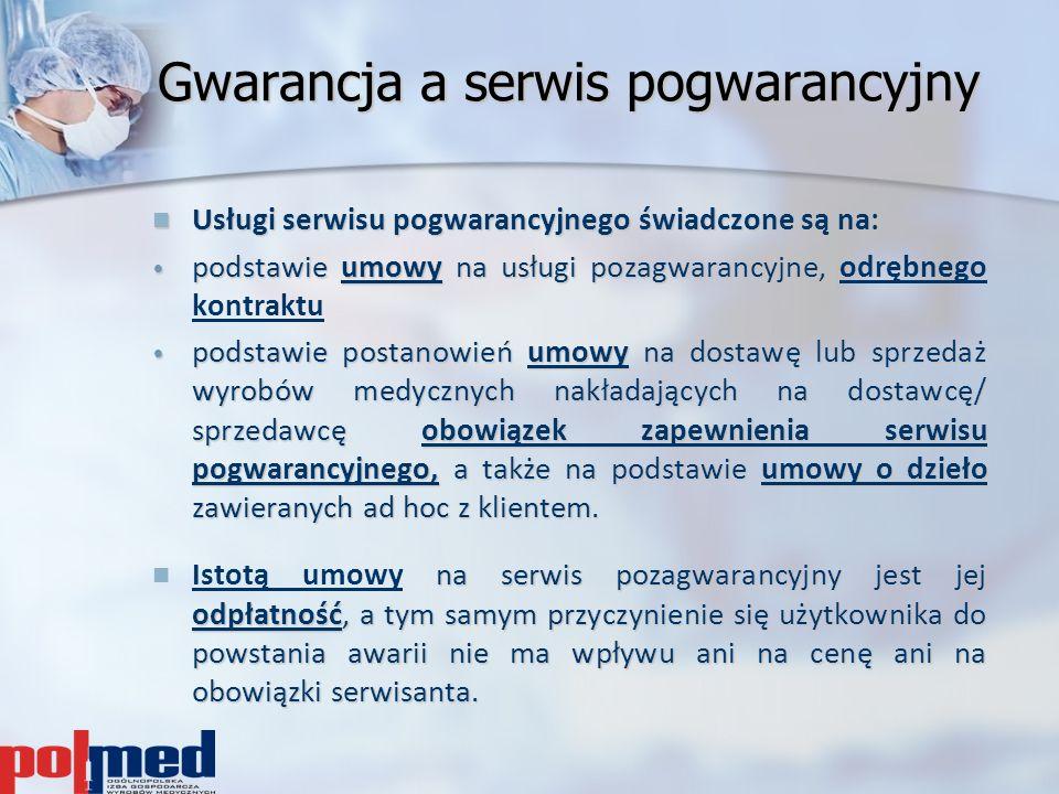 Gwarancja a serwis pogwarancyjny Usługi serwisu pogwarancyjnego świadczone są na: Usługi serwisu pogwarancyjnego świadczone są na: podstawie umowyna u