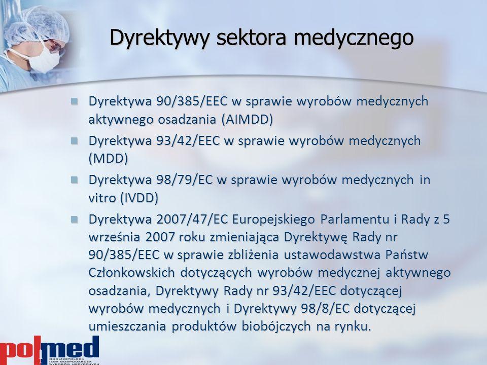 Dyrektywy sektora medycznego Dyrektywa 90/385/EEC w sprawie wyrobów medycznych aktywnego osadzania (AIMDD) Dyrektywa 90/385/EEC w sprawie wyrobów medy