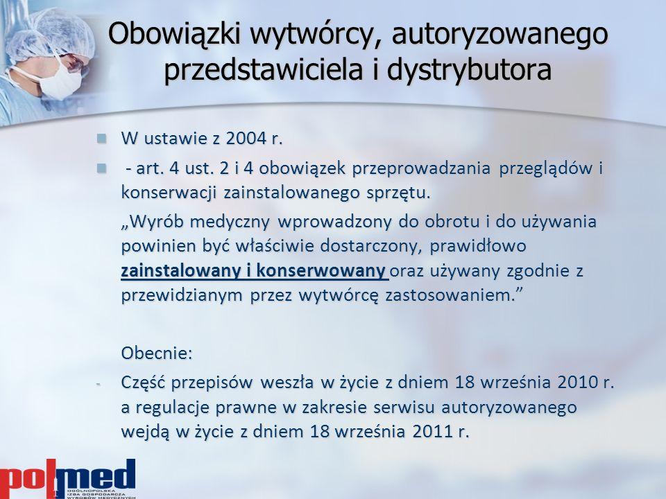 Obowiązki wytwórcy, autoryzowanego przedstawiciela i dystrybutora W ustawie z 2004 r. W ustawie z 2004 r. - art. 4 ust. 2 i 4 obowiązek przeprowadzani