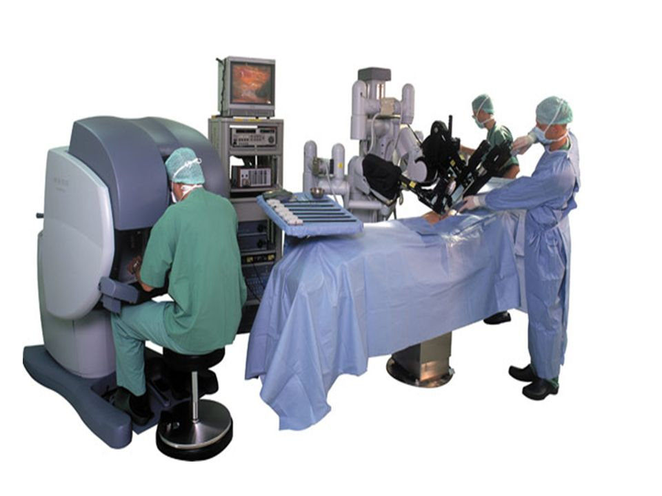 Robot da Vinci Robot składa się z 4 ramion robota, mających bezpośredni kontakt z pacjentem. Trzy ramiona wyposażone są w narzędzia chirurgiczne EndoW