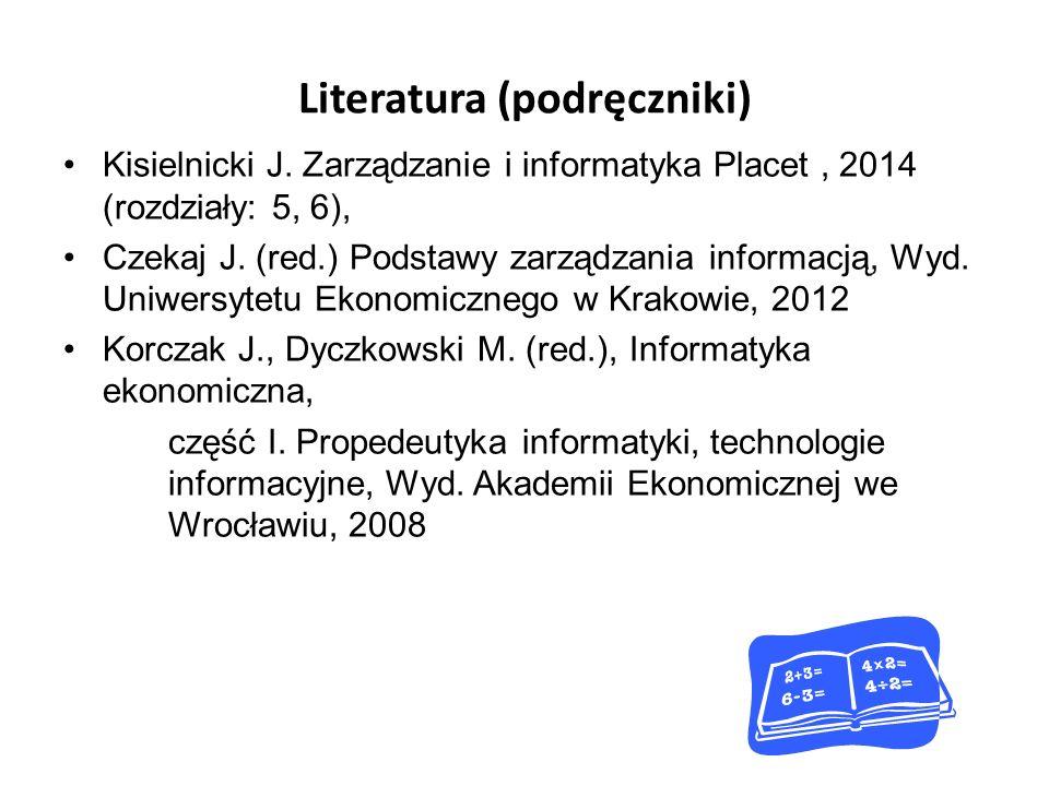 Ocena 1.Na ostatnich zajęciach pisemne kolokwium z materiału wykładowego uzupełnionego o literaturę.