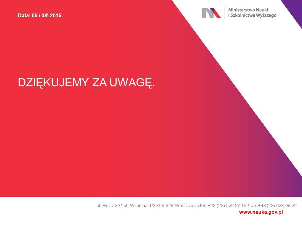 DZIĘKUJEMY ZA UWAGĘ. ul. Hoża 20 \ ul. Wspólna 1/3 \ 00-529 Warszawa \ tel. +48 (22) 529 27 18 \ fax +48 (22) 628 09 22 Data: 05 \ 08\ 2015 www.nauka.