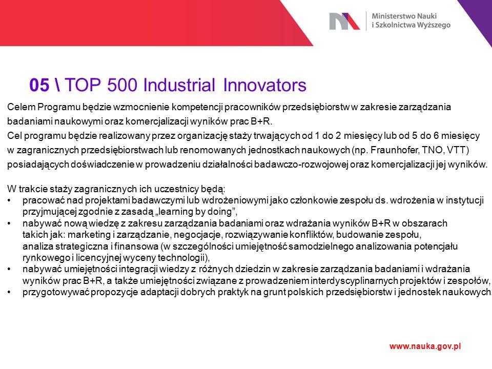 05 \ TOP 500 Industrial Innovators www.nauka.gov.pl W ramach Programu przewiduje się następujące podstawowe założenia: indywidualne decyzje stażystów co do miejsca (Europa), wyjazdy w grupach liczących nie więcej niż 5 stażystów odbywających staż w tym samym czasie w jednym ośrodku/przedsiębiorstwie, praca stażystów w małych grupach projektowych, długość stażu: od 1 do 2 miesięcy (poziom podstawowy: rozwój podstawowych umiejętności i kompetencji z zakresu zarządzania projektami badawczymi i ich komercjalizacji) lub 5 do 6 miesięcy (poziom zaawansowany: rozwój określonych umiejętności i kompetencji z zakresu zarządzania projektami badawczymi i ich komercjalizacji), faza przygotowania do odbycia stażu w Polsce (min.