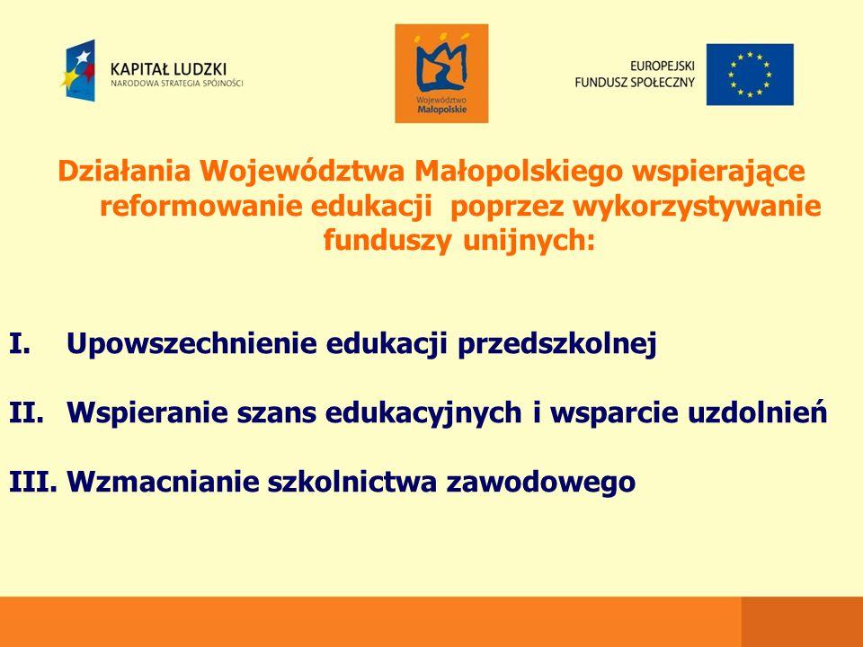 Działania Województwa Małopolskiego wspierające reformowanie edukacji poprzez wykorzystywanie funduszy unijnych: I.Upowszechnienie edukacji przedszkolnej II.Wspieranie szans edukacyjnych i wsparcie uzdolnień III.Wzmacnianie szkolnictwa zawodowego