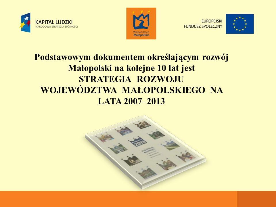 Podstawowym dokumentem określającym rozwój Małopolski na kolejne 10 lat jest STRATEGIA ROZWOJU WOJEWÓDZTWA MAŁOPOLSKIEGO NA LATA 2007–2013