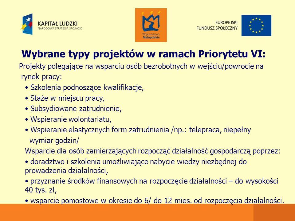 Wybrane typy projektów w ramach Priorytetu VI: Projekty polegające na wsparciu osób bezrobotnych w wejściu/powrocie na rynek pracy: Szkolenia podnoszące kwalifikacje, Staże w miejscu pracy, Subsydiowane zatrudnienie, Wspieranie wolontariatu, Wspieranie elastycznych form zatrudnienia /np.: telepraca, niepełny wymiar godzin/ Wsparcie dla osób zamierzających rozpocząć działalność gospodarczą poprzez: doradztwo i szkolenia umożliwiające nabycie wiedzy niezbędnej do prowadzenia działalności, przyznanie środków finansowych na rozpoczęcie działalności – do wysokości 40 tys.