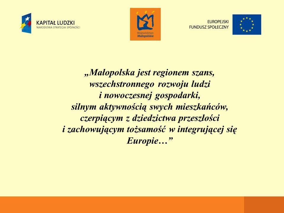 """""""Małopolska jest regionem szans, wszechstronnego rozwoju ludzi i nowoczesnej gospodarki, silnym aktywnością swych mieszkańców, czerpiącym z dziedzictwa przeszłości i zachowującym tożsamość w integrującej się Europie…"""