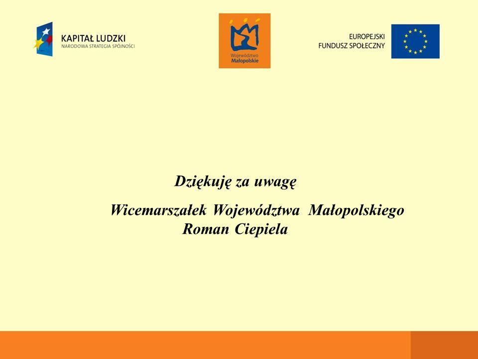 Dziękuję za uwagę Wicemarszałek Województwa Małopolskiego Roman Ciepiela