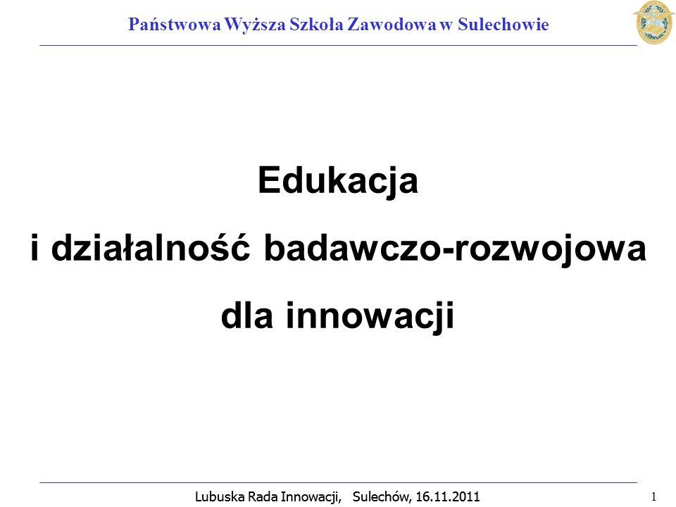 Lubuska Rada Innowacji, Sulechów, 16.11.2011 2 Państwowa Wyższa Szkoła Zawodowa w Sulechowie INNOWACJA – wdrażanie nowych rozwiązań, wprowadzenie lub urzeczywistnienie zmian rozwojowych.