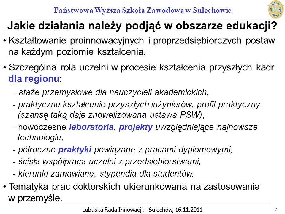 Lubuska Rada Innowacji, Sulechów, 16.11.2011 8 Państwowa Wyższa Szkoła Zawodowa w Sulechowie Działalność badawczo-rozwojowa