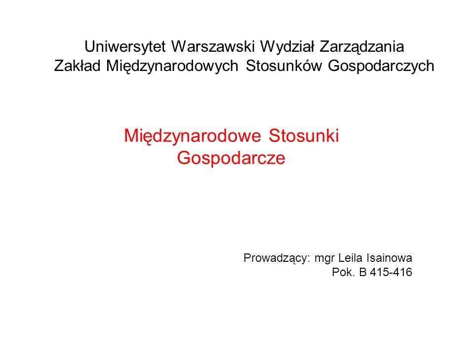 Uniwersytet Warszawski Wydział Zarządzania Zakład Międzynarodowych Stosunków Gospodarczych Międzynarodowe Stosunki Gospodarcze Prowadzący: mgr Leila Isainowa Pok.