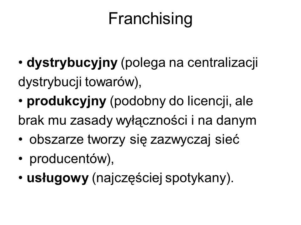 Franchising dystrybucyjny (polega na centralizacji dystrybucji towarów), produkcyjny (podobny do licencji, ale brak mu zasady wyłączności i na danym obszarze tworzy się zazwyczaj sieć producentów), usługowy (najczęściej spotykany).