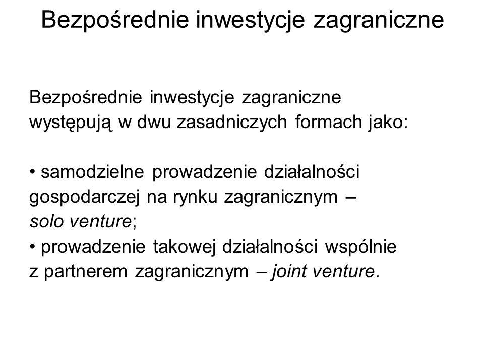 Bezpośrednie inwestycje zagraniczne występują w dwu zasadniczych formach jako: samodzielne prowadzenie działalności gospodarczej na rynku zagranicznym – solo venture; prowadzenie takowej działalności wspólnie z partnerem zagranicznym – joint venture.