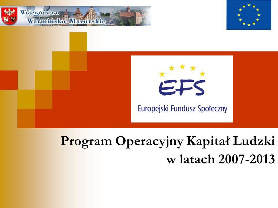 PO Kapitał Ludzki 2007-2013 Priorytety realizowane na poziomie regionalnym Środki PO KL w regionie to 292,9 mln €, w tym środki EFS 249 mln € W podziale na priorytety środki ogółem (w mln euro) rozkładają się następująco : Departament Europejskiego Funduszu Społecznego, Urząd Marszałkowski Województwa Warmińsko-Mazurskiego