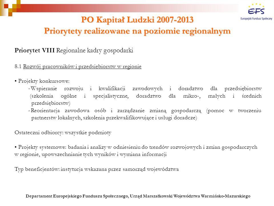 PO Kapitał Ludzki 2007-2013 Priorytety realizowane na poziomie regionalnym Priorytet VIII Regionalne kadry gospodarki 8.1 Rozwój pracowników i przedsi