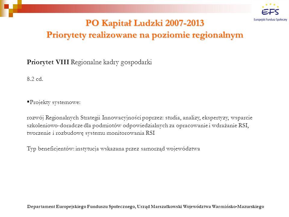 PO Kapitał Ludzki 2007-2013 Priorytety realizowane na poziomie regionalnym Priorytet VIII Regionalne kadry gospodarki 8.2 cd.  Projekty systemowe: ro