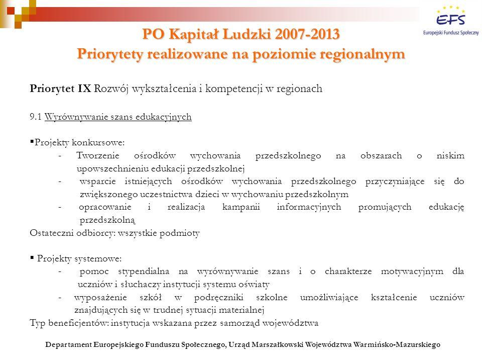 PO Kapitał Ludzki 2007-2013 Priorytety realizowane na poziomie regionalnym Priorytet IX Rozwój wykształcenia i kompetencji w regionach 9.1 Wyrównywani