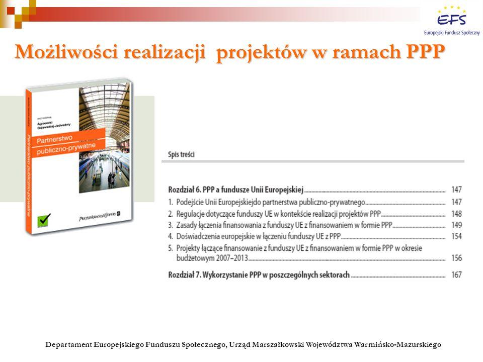Możliwości realizacji projektów w ramach PPP Departament Europejskiego Funduszu Społecznego, Urząd Marszałkowski Województwa Warmińsko-Mazurskiego
