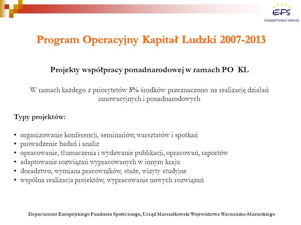 obejmuje okres 7 lat (2007-2013) zwięzły dokument określający strategiczne kierunki wsparcia opracowywana przez Instytucję Pośredniczącą opiniowana przez Instytucję Zarządzającą PO KL Strategia realizacji wsparcia z EFS Strategia realizacji wsparcia z EFS Priorytety I-VI PO KL: jeden Priorytet = jedna Strategia właściwy organ centralnej administracji rządowej akceptowana przez Komitet Monitorujący PO KL Priorytety VII-X PO KL: cały komponent regionalny = jedna Strategia samorząd województwa akceptowana przez Podkomitet Monitorujący PO KL Departament Europejskiego Funduszu Społecznego, Urząd Marszałkowski Województwa Warmińsko-Mazurskiego