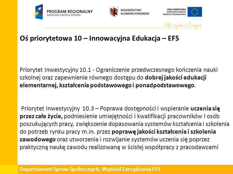Departament Spraw Społecznych, Wydział Zarządzania EFS Oś priorytetowa 10 – Innowacyjna Edukacja – EFS Priorytet Inwestycyjny 10.1 - Ograniczenie przedwczesnego kończenia nauki szkolnej oraz zapewnienie równego dostępu do dobrej jakości edukacji elementarnej, kształcenia podstawowego i ponadpodstawowego.