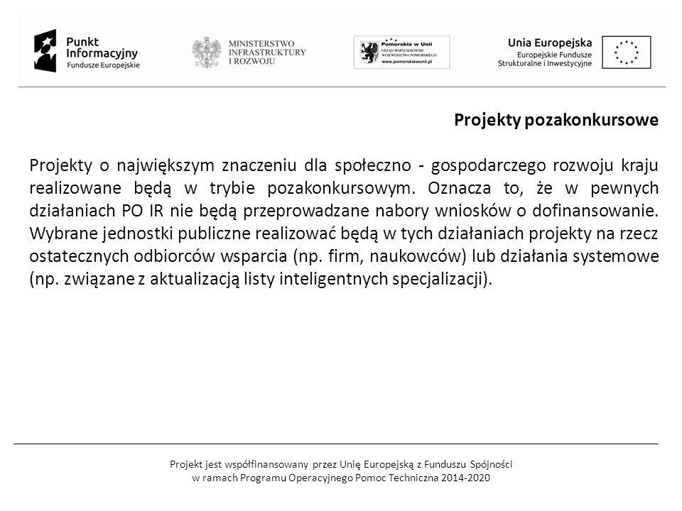 Projekt jest współfinansowany przez Unię Europejską z Funduszu Spójności w ramach Programu Operacyjnego Pomoc Techniczna 2014-2020 Projekty pozakonkur