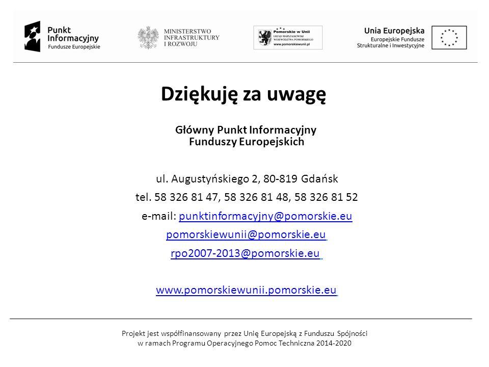 Projekt jest współfinansowany przez Unię Europejską z Funduszu Spójności w ramach Programu Operacyjnego Pomoc Techniczna 2014-2020 Dziękuję za uwagę G