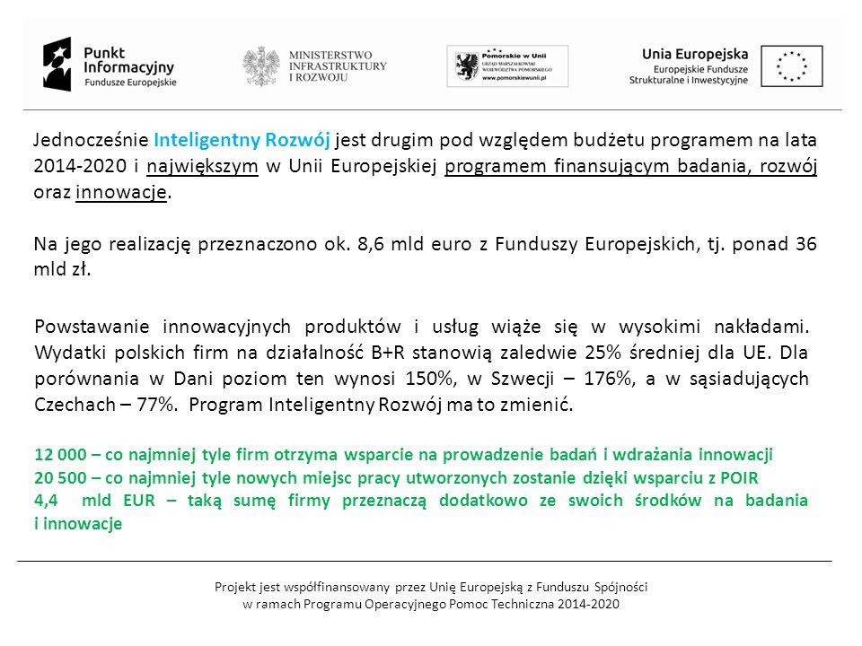 Projekt jest współfinansowany przez Unię Europejską z Funduszu Spójności w ramach Programu Operacyjnego Pomoc Techniczna 2014-2020 Jednocześnie Inteligentny Rozwój jest drugim pod względem budżetu programem na lata 2014-2020 i największym w Unii Europejskiej programem finansującym badania, rozwój oraz innowacje.