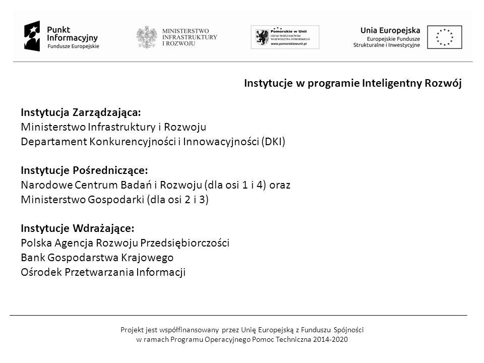 Projekt jest współfinansowany przez Unię Europejską z Funduszu Spójności w ramach Programu Operacyjnego Pomoc Techniczna 2014-2020 Instytucje w programie Inteligentny Rozwój Instytucja Zarządzająca: Ministerstwo Infrastruktury i Rozwoju Departament Konkurencyjności i Innowacyjności (DKI) Instytucje Pośredniczące: Narodowe Centrum Badań i Rozwoju (dla osi 1 i 4) oraz Ministerstwo Gospodarki (dla osi 2 i 3) Instytucje Wdrażające: Polska Agencja Rozwoju Przedsiębiorczości Bank Gospodarstwa Krajowego Ośrodek Przetwarzania Informacji