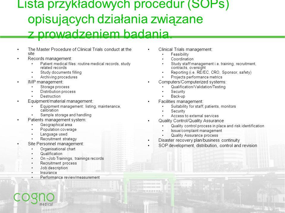 Lista przykładowych procedur (SOPs) opisujących działania związane z prowadzeniem badania.