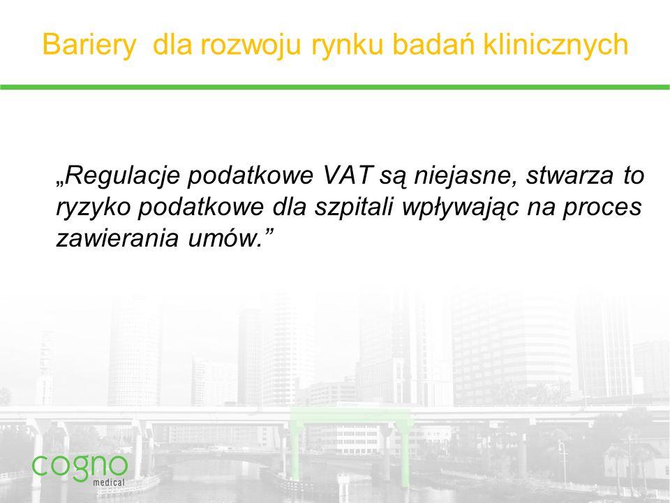 """Bariery dla rozwoju rynku badań klinicznych """"Regulacje podatkowe VAT są niejasne, stwarza to ryzyko podatkowe dla szpitali wpływając na proces zawierania umów."""