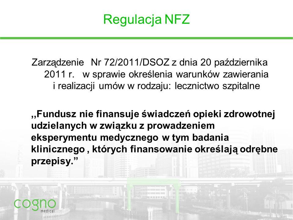 Regulacja NFZ Zarządzenie Nr 72/2011/DSOZ z dnia 20 października 2011 r.
