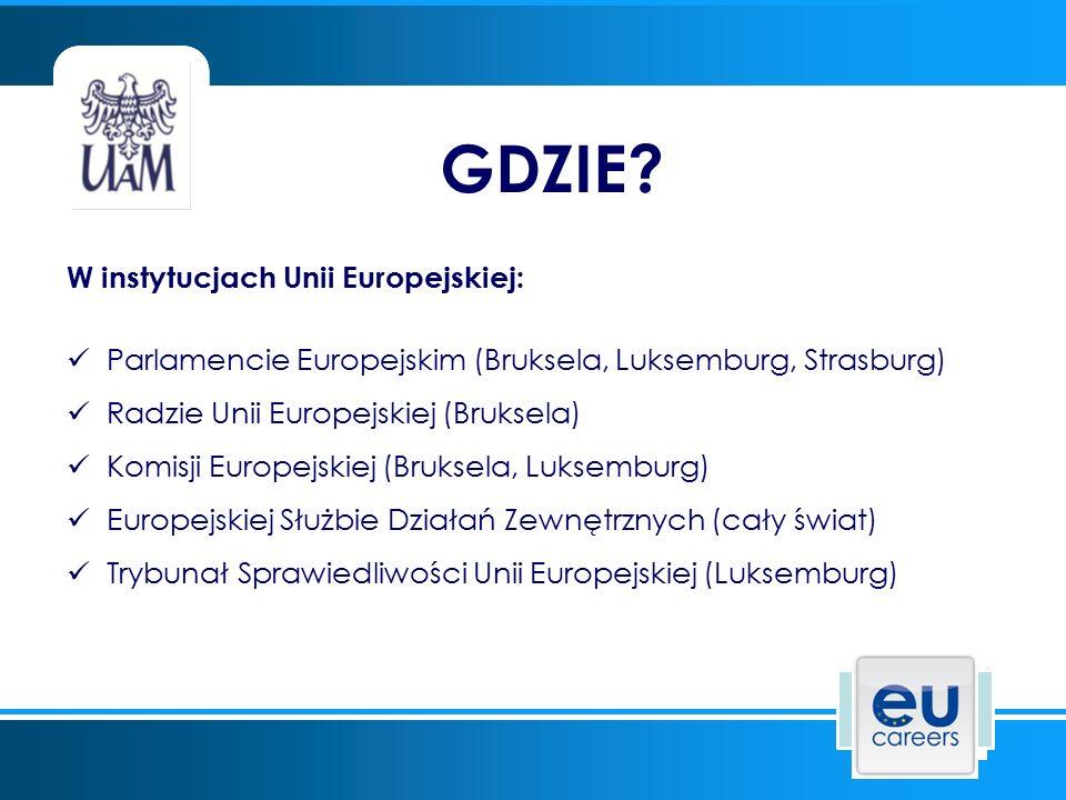 W instytucjach Unii Europejskiej: Parlamencie Europejskim (Bruksela, Luksemburg, Strasburg) Radzie Unii Europejskiej (Bruksela) Komisji Europejskiej (Bruksela, Luksemburg) Europejskiej Służbie Działań Zewnętrznych (cały świat) Trybunał Sprawiedliwości Unii Europejskiej (Luksemburg) GDZIE