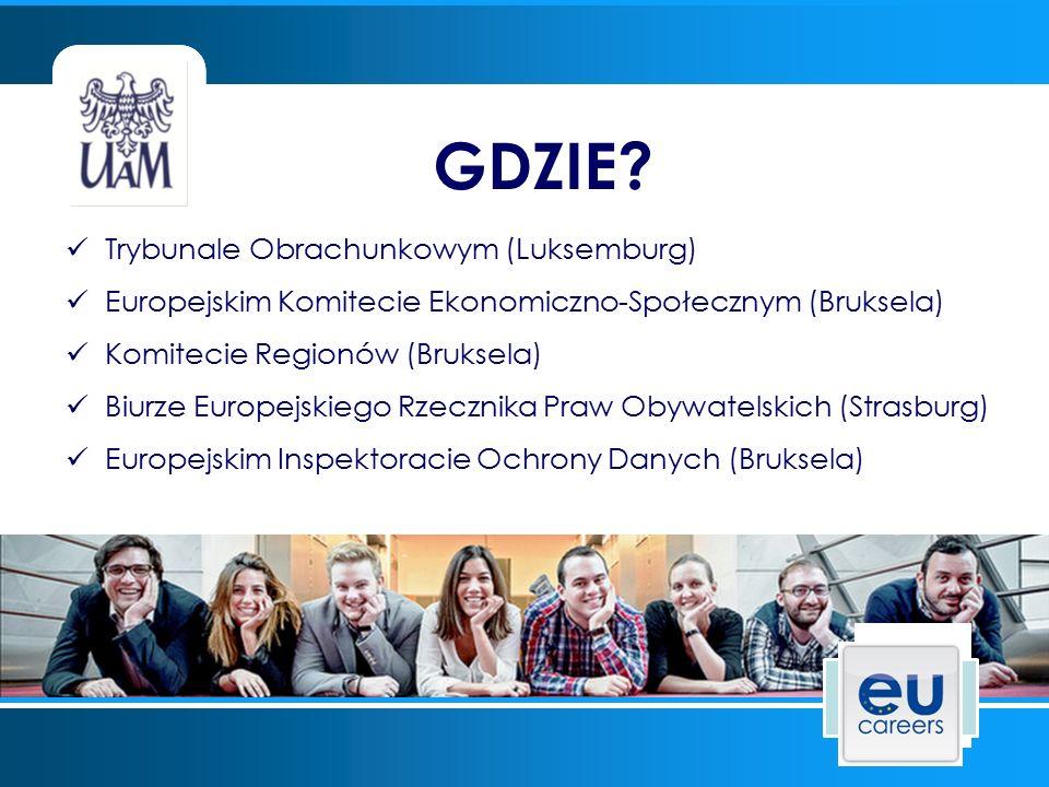 Trybunale Obrachunkowym (Luksemburg) Europejskim Komitecie Ekonomiczno-Społecznym (Bruksela) Komitecie Regionów (Bruksela) Biurze Europejskiego Rzecznika Praw Obywatelskich (Strasburg) Europejskim Inspektoracie Ochrony Danych (Bruksela) GDZIE