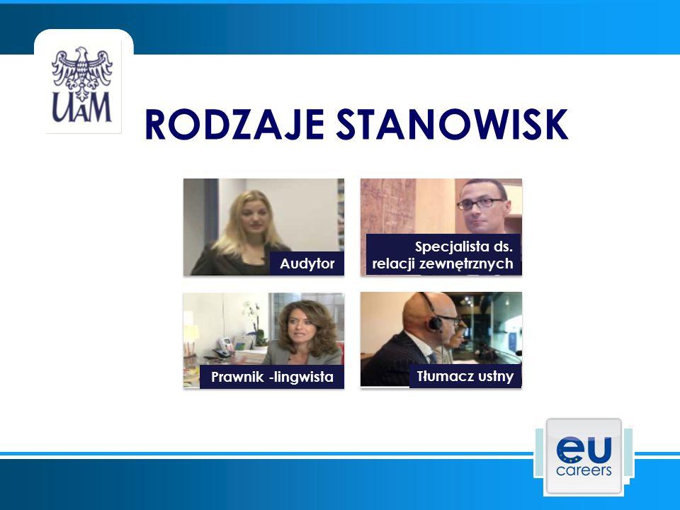 RODZAJE STANOWISK Audytor Specjalista ds. relacji zewnętrznych Prawnik -lingwista Tłumacz ustny