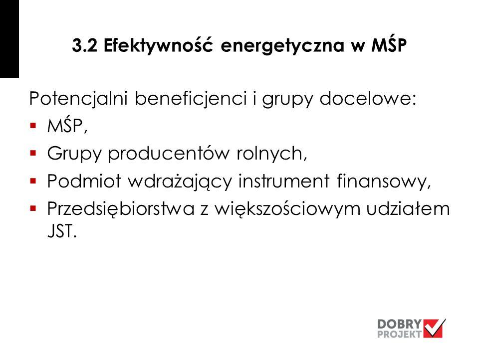 3.2 Efektywność energetyczna w MŚP Potencjalni beneficjenci i grupy docelowe:  MŚP,  Grupy producentów rolnych,  Podmiot wdrażający instrument finansowy,  Przedsiębiorstwa z większościowym udziałem JST.