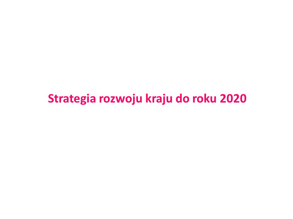 Strategia rozwoju kraju do roku 2020