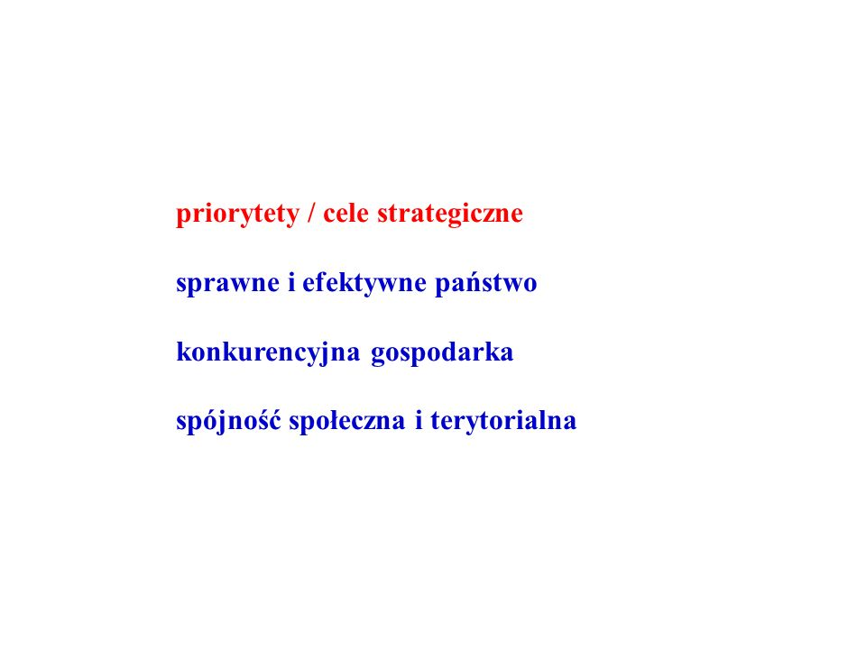 priorytety / cele strategiczne sprawne i efektywne państwo konkurencyjna gospodarka spójność społeczna i terytorialna