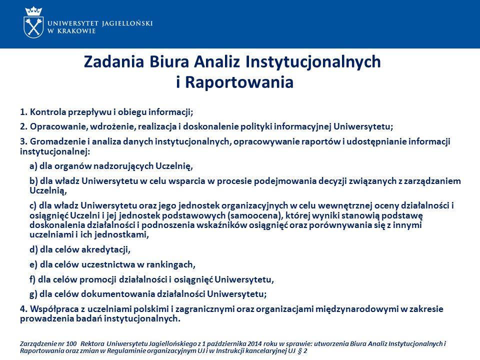 ...... Zadania Biura Analiz Instytucjonalnych i Raportowania 1.