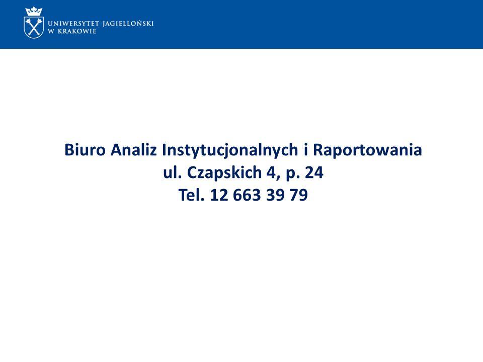 ...... Biuro Analiz Instytucjonalnych i Raportowania ul. Czapskich 4, p. 24 Tel. 12 663 39 79