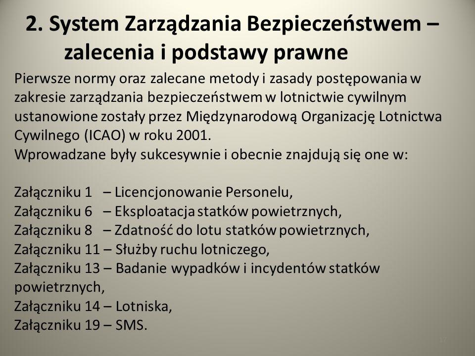 17 2. System Zarządzania Bezpieczeństwem – zalecenia i podstawy prawne Pierwsze normy oraz zalecane metody i zasady postępowania w zakresie zarządzani
