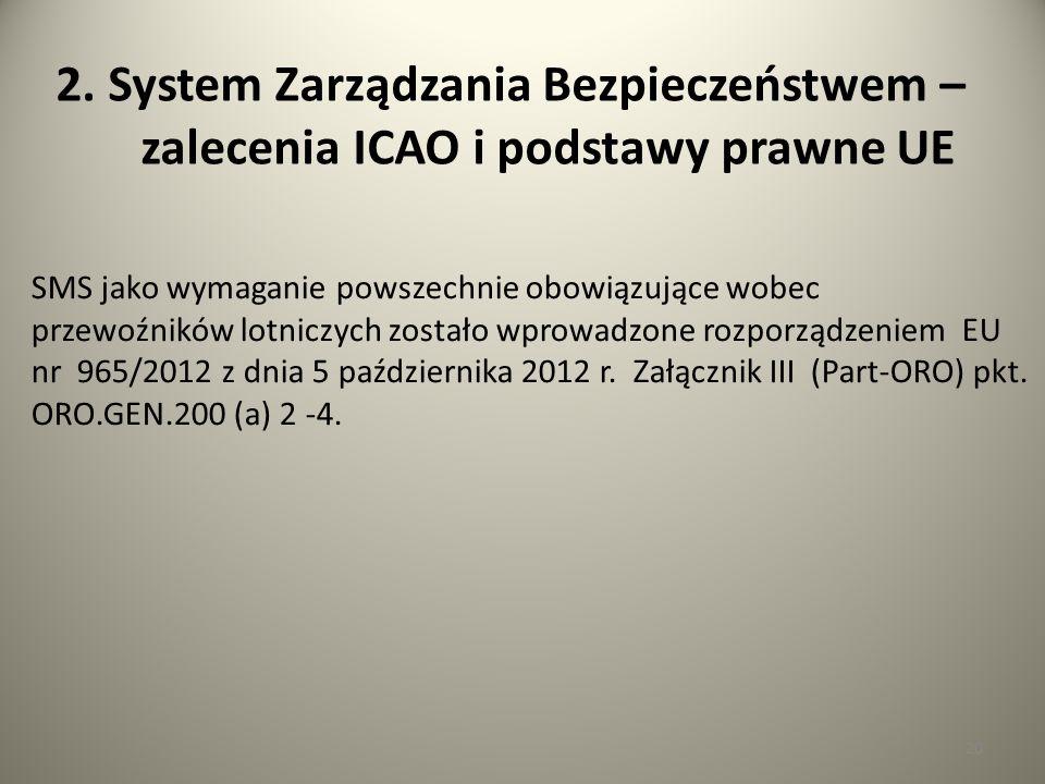 20 2. System Zarządzania Bezpieczeństwem – zalecenia ICAO i podstawy prawne UE SMS jako wymaganie powszechnie obowiązujące wobec przewoźników lotniczy