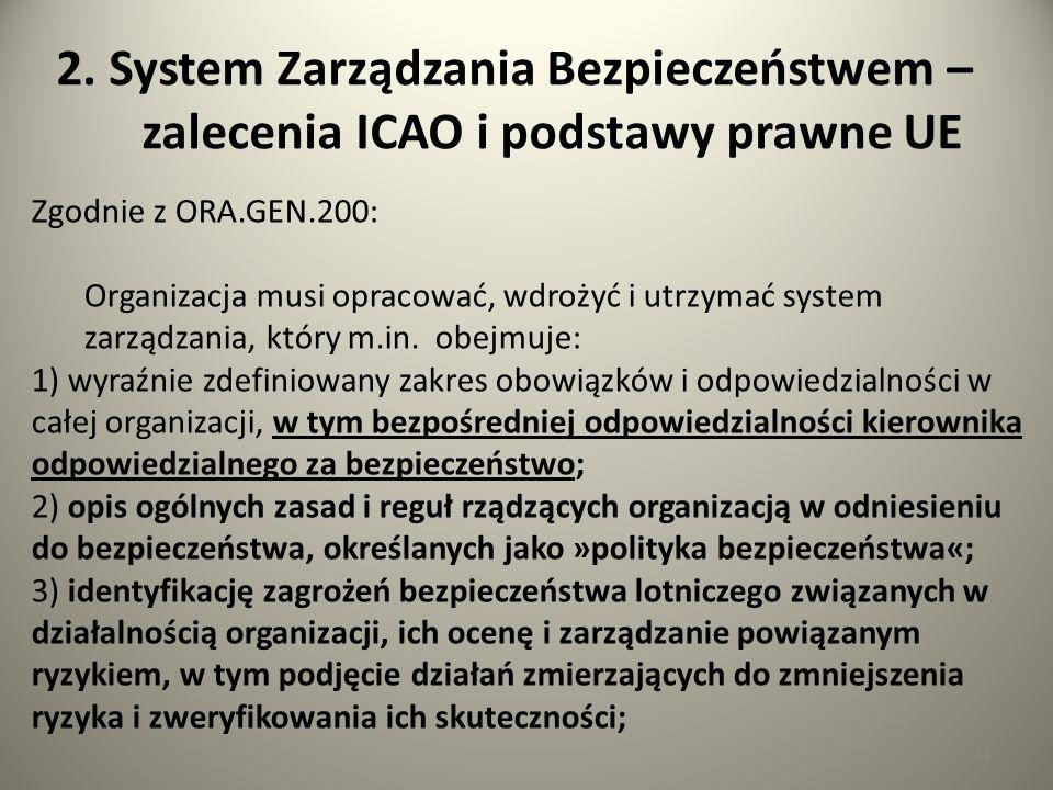21 2. System Zarządzania Bezpieczeństwem – zalecenia ICAO i podstawy prawne UE Zgodnie z ORA.GEN.200: Organizacja musi opracować, wdrożyć i utrzymać s