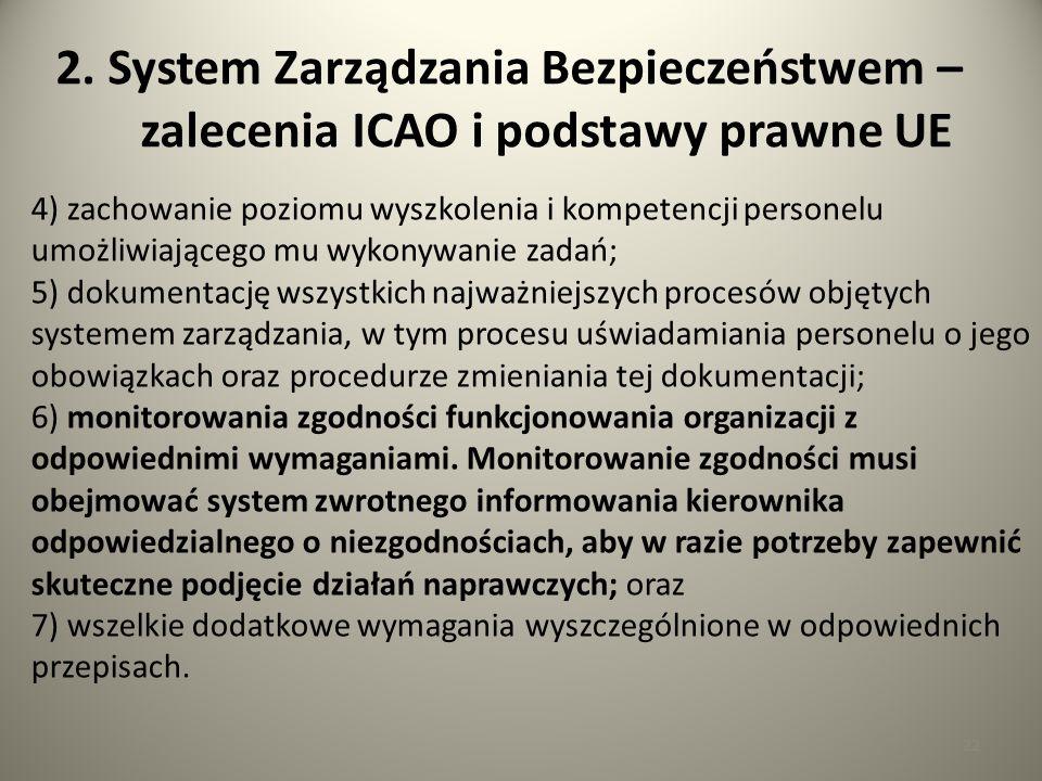 22 2. System Zarządzania Bezpieczeństwem – zalecenia ICAO i podstawy prawne UE 4) zachowanie poziomu wyszkolenia i kompetencji personelu umożliwiające