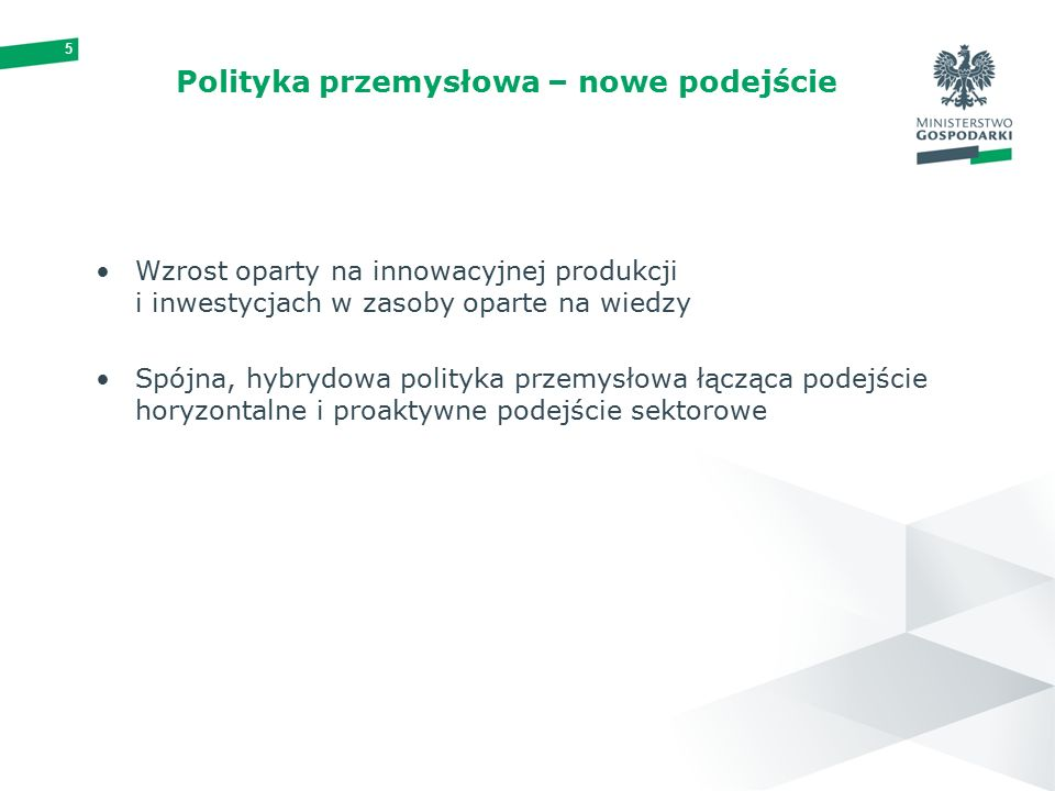 5 Polityka przemysłowa – nowe podejście Wzrost oparty na innowacyjnej produkcji i inwestycjach w zasoby oparte na wiedzy Spójna, hybrydowa polityka przemysłowa łącząca podejście horyzontalne i proaktywne podejście sektorowe