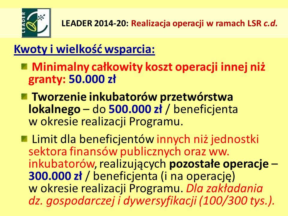Kwoty i wielkość wsparcia: Minimalny całkowity koszt operacji innej niż granty: 50.000 zł Tworzenie inkubatorów przetwórstwa lokalnego – do 500.000 zł / beneficjenta w okresie realizacji Programu.