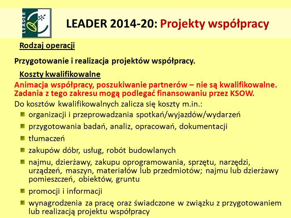 Rodzaj operacji Przygotowanie i realizacja projektów współpracy.