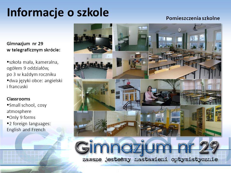 Informacje o szkole Gimnazjum nr 29 w telegraficznym skrócie:  szkoła mała, kameralna, ogółem 9 oddziałów, po 3 w każdym roczniku  dwa języki obce: