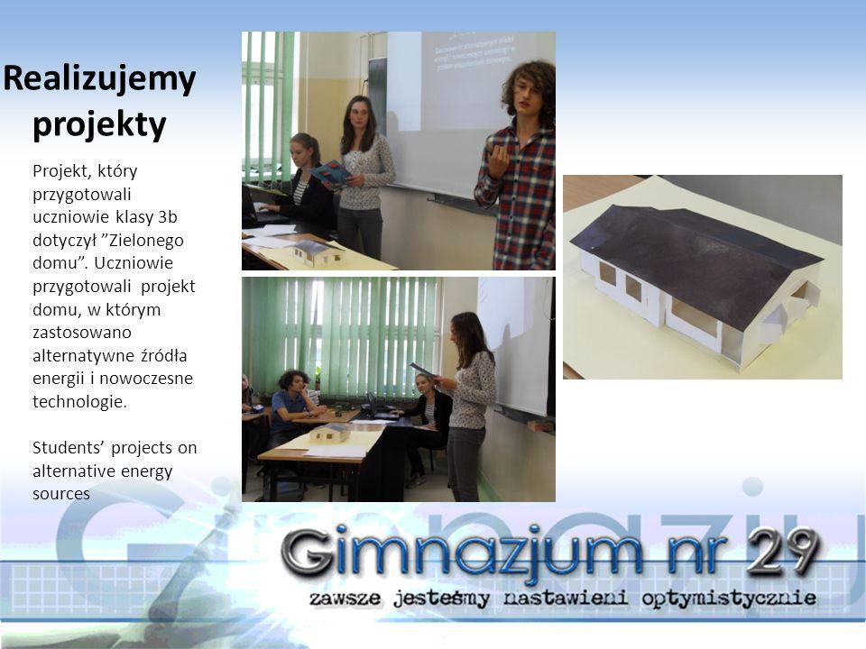 Projekt, który przygotowali uczniowie klasy 3b dotyczył Zielonego domu .